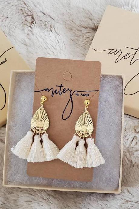Aretez (Cream, Gray or Black)Tear Drop Tassel Gold Earrings | Simple Small Dangle Tassel Earrings | Minimalist Fringe Tassel Earrings