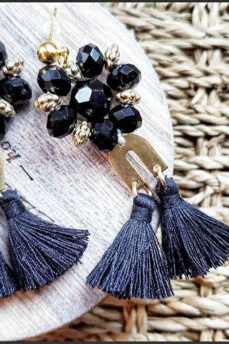 Aretez Black Glass Bead Chandelier Earrings | Black Dangle Tassel Earrings | Handmade Long Tassel Earrings