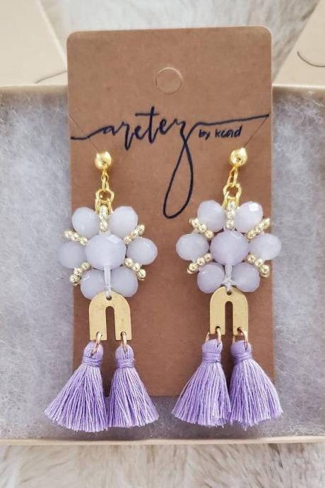 Aretez Purple Glass Bead Chandelier Earrings | Lilac Long Dangle Tassel Earrings | Handmade Fringe Tassel Earrings