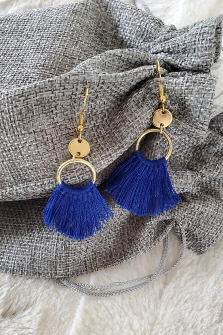 Aretez (Blue or Gray) Mini Ring Tassel Earrings | Blue Small Dangle Tassel Earrings | Handmade Tassel Fringe Hoop Earrings