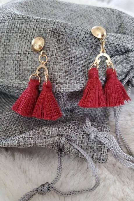 Aretez Dark Red Mini Two Link Post Earrings | Simple Handmade Fringe Tassel Earrings | Red Dangle Tassel Earrings