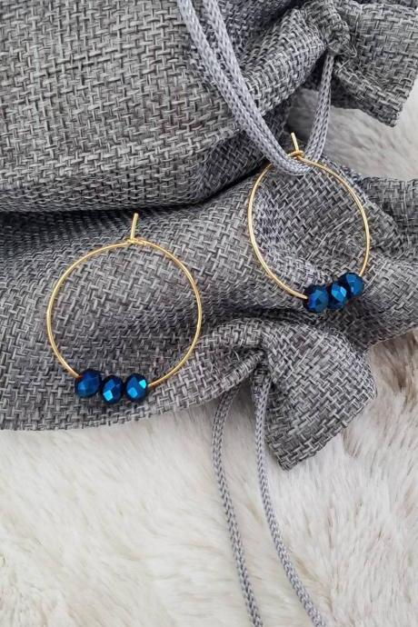 Aretez Metallic Blue Crystal Bead Hoop Earrings