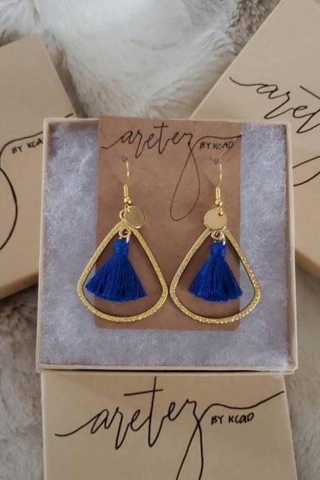 Aretez Medium Teardrop Hoop Drop Earrings | Blue Mini Fringe Tassel Earrings | Simple Dangle Tassel Earrings