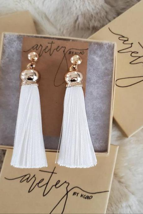 Aretez Luna Golden Cap White Tassel Earrings | White Long Tassel Earrings | Simple Minimalist Fringe Tassel Earrings | White Dangle Tassel Earrings