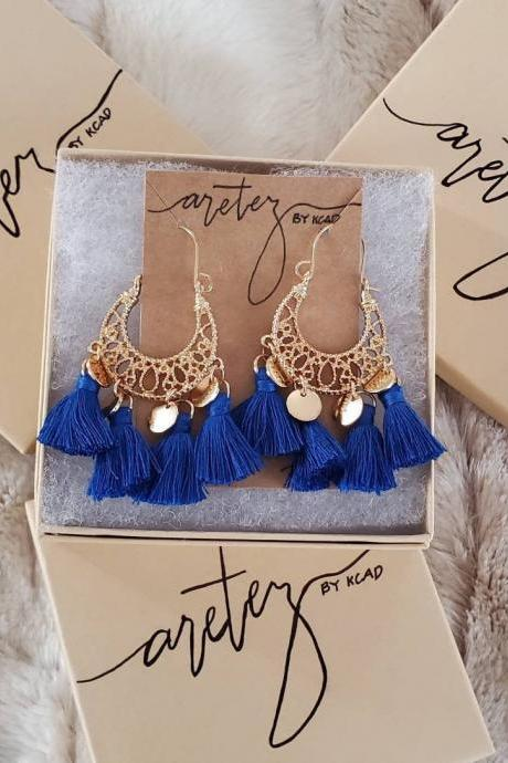 Aretez SulogDatu Mini Disc Royal Blue Earrings